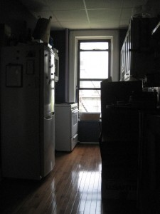 A view of the before hallway in the other direction. This was the tenant apartment kitchen before, now part of our master bedroom.