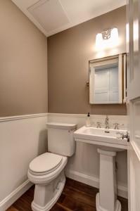 Parlour bathroom. Color is Benjamin Moore Baja Dunes.