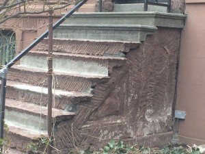 Detail on the side of the steps after demo.